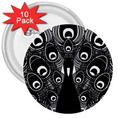 Peacock Bird Animal Feather 3  Buttons (10 Pack)  by Celenk