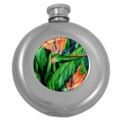 Flowers Art Beautiful Round Hip Flask (5 Oz) by Celenk