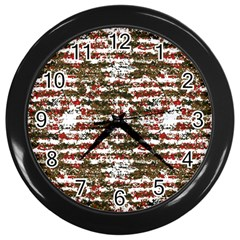 Grunge Textured Abstract Pattern Wall Clocks (black) by dflcprints