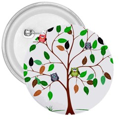 Tree Root Leaves Owls Green Brown 3  Buttons by Celenk