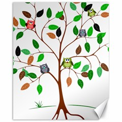 Tree Root Leaves Owls Green Brown Canvas 16  X 20   by Celenk