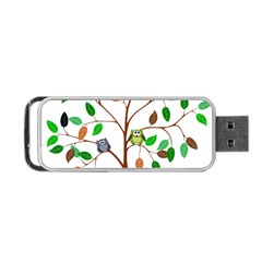 Tree Root Leaves Owls Green Brown Portable Usb Flash (two Sides) by Celenk