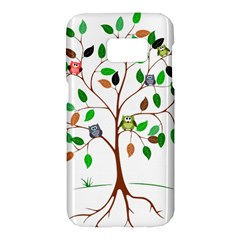 Tree Root Leaves Owls Green Brown Samsung Galaxy S7 Hardshell Case  by Celenk