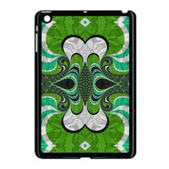 Fractal Art Green Pattern Design Apple Ipad Mini Case (black) by Celenk
