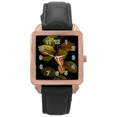 Autumn Leaves Foliage Rose Gold Leather Watch  by Celenk