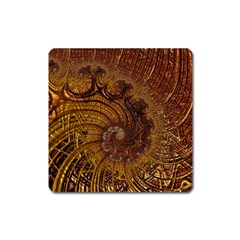 Copper Caramel Swirls Abstract Art Square Magnet by Celenk