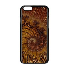 Copper Caramel Swirls Abstract Art Apple Iphone 6/6s Black Enamel Case by Celenk