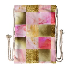 Collage Gold And Pink Drawstring Bag (large) by 8fugoso