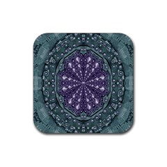 Star And Flower Mandala In Wonderful Colors Rubber Coaster (square)  by pepitasart