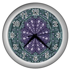 Star And Flower Mandala In Wonderful Colors Wall Clocks (silver)  by pepitasart
