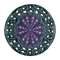 Star And Flower Mandala In Wonderful Colors Round Filigree Ornament (two Sides) by pepitasart