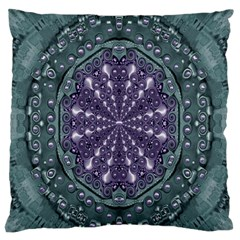 Star And Flower Mandala In Wonderful Colors Large Flano Cushion Case (one Side) by pepitasart