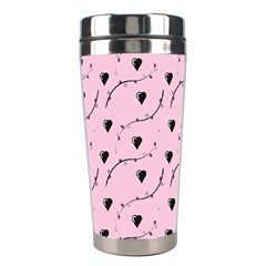 Love Hearth Pink Pattern Stainless Steel Travel Tumblers by Celenk