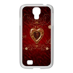 Wonderful Hearts With Floral Elemetns, Gold, Red Samsung Galaxy S4 I9500/ I9505 Case (white) by FantasyWorld7