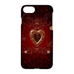 Wonderful Hearts With Floral Elemetns, Gold, Red Apple Iphone 7 Hardshell Case by FantasyWorld7