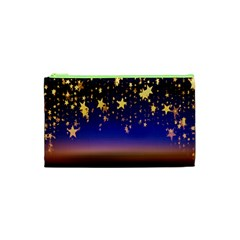 Christmas Background Star Curtain Cosmetic Bag (xs) by Celenk