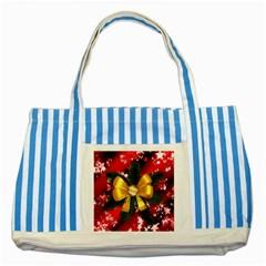 Christmas Star Winter Celebration Striped Blue Tote Bag by Celenk