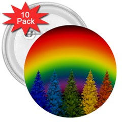 Christmas Colorful Rainbow Colors 3  Buttons (10 Pack)  by Celenk