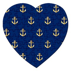 Gold Anchors Background Jigsaw Puzzle (heart) by Celenk