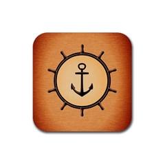 Nautical Anchor Marine Ocean Sea Rubber Coaster (square)  by Celenk