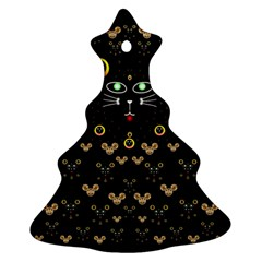 Merry Black Cat In The Night And A Mouse Involved Pop Art Ornament (christmas Tree)  by pepitasart