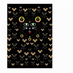 Merry Black Cat In The Night And A Mouse Involved Pop Art Large Garden Flag (two Sides) by pepitasart