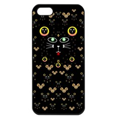 Merry Black Cat In The Night And A Mouse Involved Pop Art Apple Iphone 5 Seamless Case (black) by pepitasart