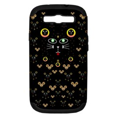 Merry Black Cat In The Night And A Mouse Involved Pop Art Samsung Galaxy S Iii Hardshell Case (pc+silicone) by pepitasart
