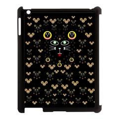 Merry Black Cat In The Night And A Mouse Involved Pop Art Apple Ipad 3/4 Case (black) by pepitasart