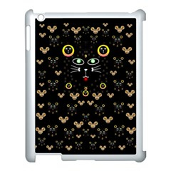 Merry Black Cat In The Night And A Mouse Involved Pop Art Apple Ipad 3/4 Case (white) by pepitasart