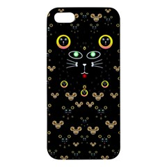 Merry Black Cat In The Night And A Mouse Involved Pop Art Apple Iphone 5 Premium Hardshell Case by pepitasart