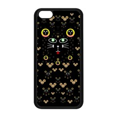Merry Black Cat In The Night And A Mouse Involved Pop Art Apple Iphone 5c Seamless Case (black) by pepitasart