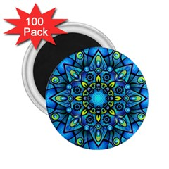 Mandala Blue Abstract Circle 2 25  Magnets (100 Pack)  by Celenk