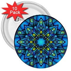 Mandala Blue Abstract Circle 3  Buttons (10 Pack)  by Celenk