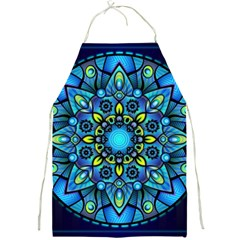 Mandala Blue Abstract Circle Full Print Aprons by Celenk