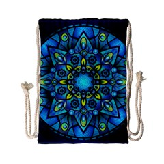 Mandala Blue Abstract Circle Drawstring Bag (small) by Celenk