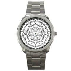 Mandala Pattern Floral Sport Metal Watch by Celenk