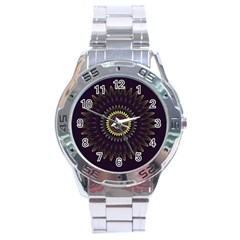 Fractal Purple Mandala Violet Stainless Steel Analogue Watch by Celenk