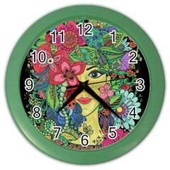 Mandala Figure Nature Girl Color Wall Clocks by Celenk