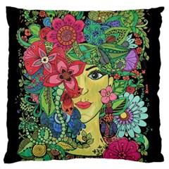 Mandala Figure Nature Girl Large Flano Cushion Case (two Sides) by Celenk