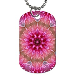 Flower Mandala Art Pink Abstract Dog Tag (one Side) by Celenk