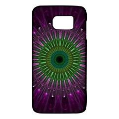 Purple Mandala Fractal Glass Galaxy S6 by Celenk