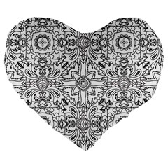 Mandala Pattern Line Art Large 19  Premium Heart Shape Cushions by Celenk
