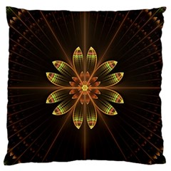 Fractal Floral Mandala Abstract Standard Flano Cushion Case (one Side) by Celenk