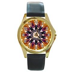 Kaleidoscope Pattern Kaleydograf Round Gold Metal Watch by Celenk