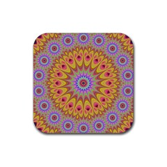 Geometric Flower Oriental Ornament Rubber Square Coaster (4 Pack)  by Celenk