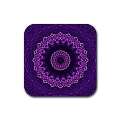Mandala Purple Mandalas Balance Rubber Square Coaster (4 Pack)  by Celenk