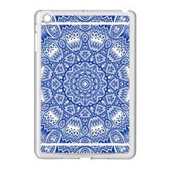 Blue Mandala Kaleidoscope Apple Ipad Mini Case (white) by Celenk