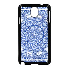 Blue Mandala Kaleidoscope Samsung Galaxy Note 3 Neo Hardshell Case (black) by Celenk