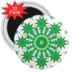 Mandala Geometric Pattern Shapes 3  Magnets (10 Pack)  by Celenk